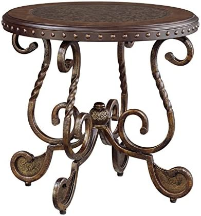 Signature Design by Ashley – Rafferty Traditional Round End Table, Vintage Brown