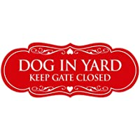 Signs ByLITA Designer Dog in Yard Keep Gate Closed Sign(Red) - Medium