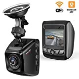 Dash Cam FHD 1080P with Sony Image Sensor Built-in WiFi with APP Dashboard Camera Recorder 170°Wide Angle Car DVR, WDR, Loop Recording, G-Sensor