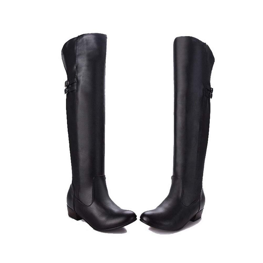 WeenFashion Womens Knee-High Solid Pull-On Closed-Toe Low-Heels Boots AMGXX117622