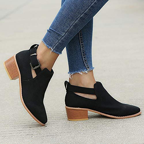 Buckle Strap Black Shoes Square Wine Shoes Single Heel Pink 35 Pointed Toe 43 Hollow Women Shoes Booties Black BxYTqXAngw
