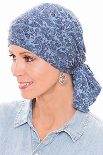 Headcovers Unlimited Slip-On Slinky Pre Tied Head Scarf - Scarves for Women with Cancer Chemo Luxury Bamboo - Paisley Denim/Navy