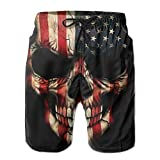 American Flag Skull Beach Shorts for Men Quick Dry Swim Shorts with Pockets