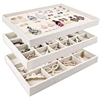 Mebbay Stackable Velvet Jewelry Trays Organizer, Jewelry Storage Display Trays All Velvet for Drawer, Earring Necklace Bracelet Ring Organizer, Set of 3 (Creamy White)