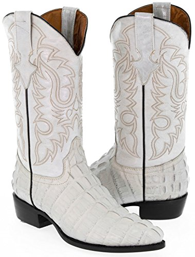 Team West - Men's White Crocodile Tail Leather Cowboy Boots J Toe 12.5 E US (White Alligator Boots)