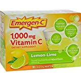 Emergen C Lemon Lime Health and Energy Booster Fizzy Drink Mix, 1000 Mg - 30 packet per pack - 3 packs per case.