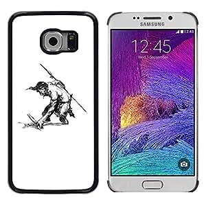 """For Samsung Galaxy S6 EDGE / SM-G925(NOT FOR S6) Case , Hombre Warrior Espada Lanza Sin camisa del dibujo del arte"""" - Diseño Patrón Teléfono Caso Cubierta Case Bumper Duro Protección Case Cover Funda"""
