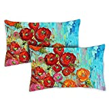 Toland Home Garden 731216 Fabulous Flowers 2-Pack 12x 19 Inch, Indoor/Outdoor, Pillow with Insert