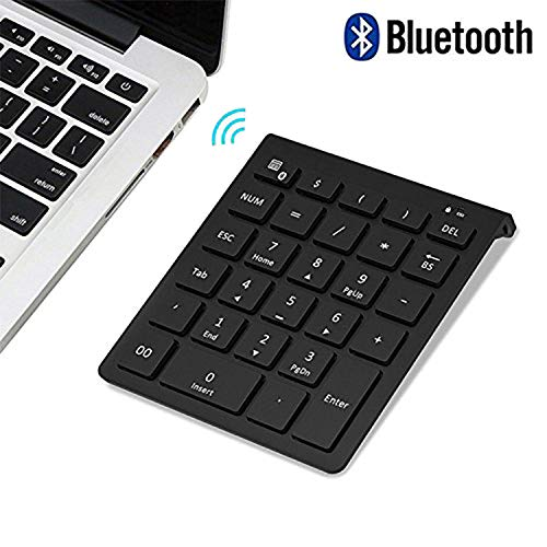 Numeric Number Keypad Keyboard Pad - Bluetooth Number Pad, Lekvey Portable Wireless Bluetooth 28-Key Numeric Keypad Keyboard Extensions for Financial Accounting Data Entry for Smartphones, Tablets, Surface Pro, Windows, Laptop and More