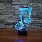 3D Illusion Lamp Gawell Night Light Piano Note 7 Changing Colors Touch USB ...