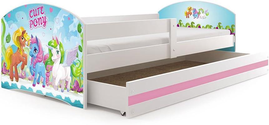 Matelas et tiroir-Coffre en Blanc Le Sticker Choisi Interbeds Lit Enfant LUKI 160x80 avec sommier Blanc+Cars