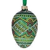 "4.5"" Green Geometric Pysanka Ukrainian Egg Glass Christmas Ornament"