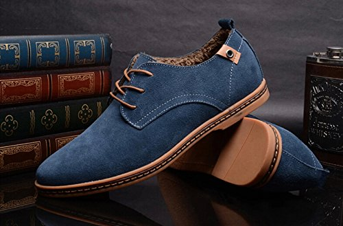 SODIAL(R) NEUF 2014 Daim Style Europeen Chaussures en Cuir Hommes oxfords Casual Velours Chaud Bleu Taille UK9 EU42