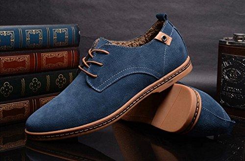 TOOGOO(R) NEUF 2014 Daim Style Europeen Chaussures en Cuir Hommes oxfords Casual Velours Chaud Bleu Taille UK10 EU44