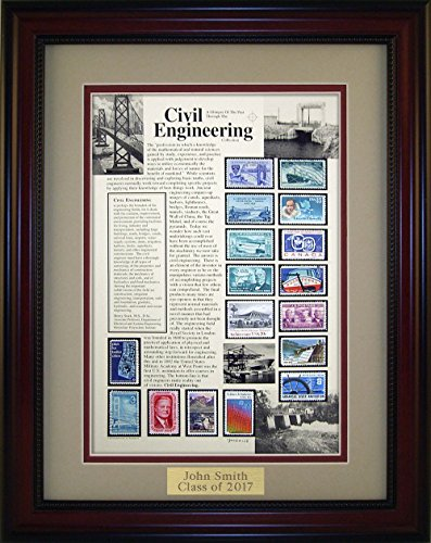American Stamp Art by Creative Framing Civil Engineer - Unique Framed Collectible (A Great Gift Idea) with Personalized Engraved (Collectible Gift Plate)