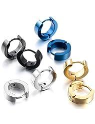 TEMEGO Jewelry Mens Stainless Steel Classic Simple Plain Huggie Hinged Hoop Earrings, 4 Pairs, Black Blue Golden Silver