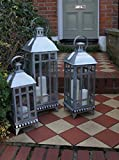 Home Deco London LTD Stila Galvanised Lantern - Metal - Candle Holder - Tea light - Lantern- Vintage (Small 47x17cm)