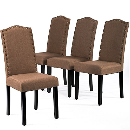 BestMassage Dining Chairs Armless Kitchen Room Chair Accent Solid Wood Modern Style For Living Home Furniture (set of 4) (Living Style Room Furniture)