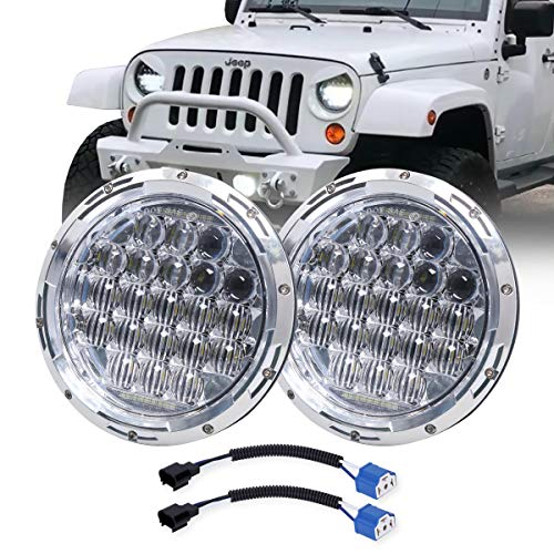 "COWONE Newest 130W 7"" inch LED Headlights DRL for Jeep Wrangler 97-2017 JK TJ LJ Hummber H1 H2 Headlamp Chrome"