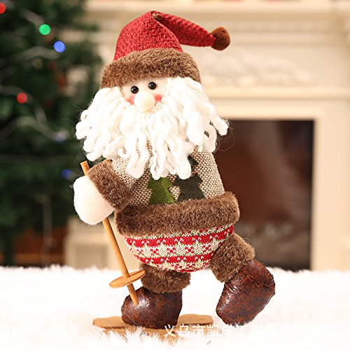 Christmas Skiing Dolls Christmas Decor Dolls Santa Claus Snowman Elk Deer Hanging Ornament Table Gift