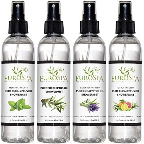 EuroSpa Aromatics Pure Eucalyptus Oil ShowerMist and Steam Room Spray, All-Natural Premium Aromatherapy Essential Oils - Variety 4 Pack - 8 oz Each (Best Antidepressant For Fatigue And Anxiety)