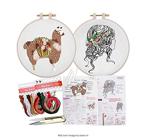 2 Set of Handmade Embroidery Starter Kit with Partten Cross Stitch Kit Including Embroidery Cloth,Bamboo Embroidery Hoop, Color Threads, and Tools Kit for Beginner (#2)