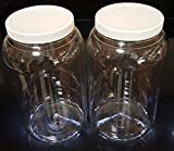 1 2 plastic jar - 1 (One) Gallon Plastic Jars with lids, wide mouth, Bulk Pack of 2, Clear Round Jar & White Lid,-Made in USA
