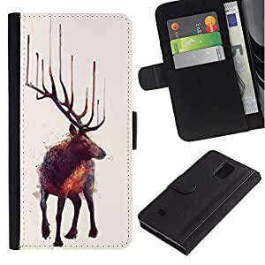 ZCell / Samsung Galaxy Note 4 IV / Moose Art Nature Animal Wild Forest Painting / Caso Shell Armor Funda Case Cover Wallet / Moose arte naturalez