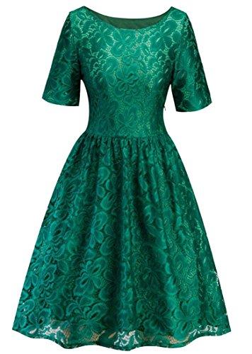 Altalena Breve Manica Womens Merletto D'epoca Vestito Verde Domple 1950 Partito Stampa Girocollo Di Del wafqA