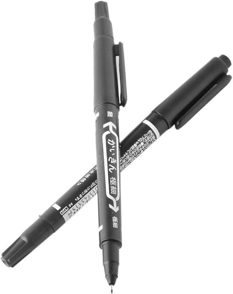 Gazechimp 10pcs Stylo Feutre Marqueur Noir /à Double Pointes pour Tatouage pour Cr/éer des Traits Gras et Fin