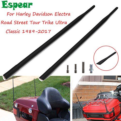 2 pcs Motorcycle Custom 13'' Antenna Masts for Harley Davidson Electra Road Street Tour Trike Ultra Classic 1989-2017 (Also fit for Jeep JK 97-17)