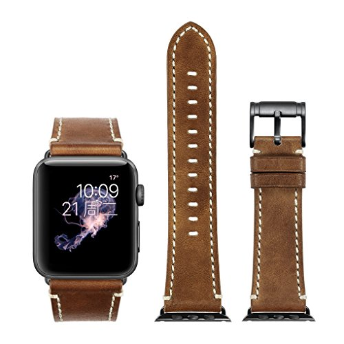 Apple Watch Strap 42mm iStrap Genuine Leather Replacemnt Band Black Classic Pin Buckle Adapter Seamlessly Fit For Apple Watch Sport Edition For iWatch Series 1&2&3 -Black (Genuine Leather Watch Strap)