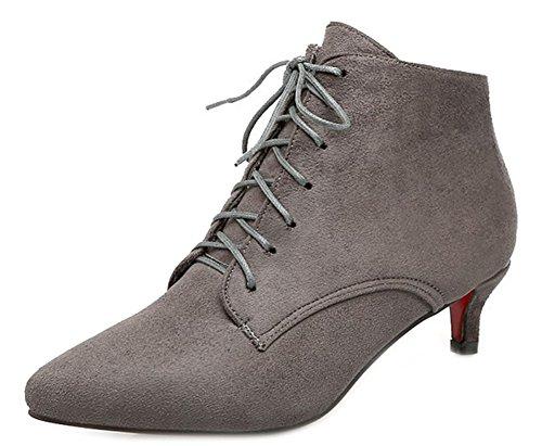 Aisun Women's Trendy Faux Suede Pointy Toe Kitten Heels Gray
