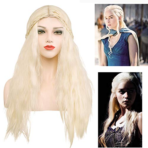 (Daenerys Targaryen Cosplay Wigs for Game of Thrones Khaleesi Costume Hair Wig Long Curly Blonde Halloween Wig with free wig cap and)