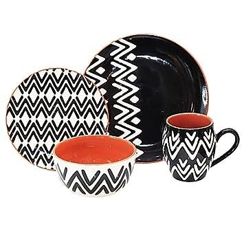 Baum Wavy Black Lines 16-Piece Dinnerware Set in Black/White  sc 1 st  Amazon.com & Amazon.com | Baum Wavy Black Lines 16-Piece Dinnerware Set in Black ...