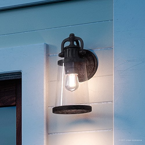Luxury Vintage Outdoor Wall Light, Small Size: 12.5''H x 6''W, with Industrial Style Elements, Historic Design, Royal Bronze Finish and Seeded Glass, Includes Edison Bulb, UQL1220 by Urban Ambiance by Urban Ambiance
