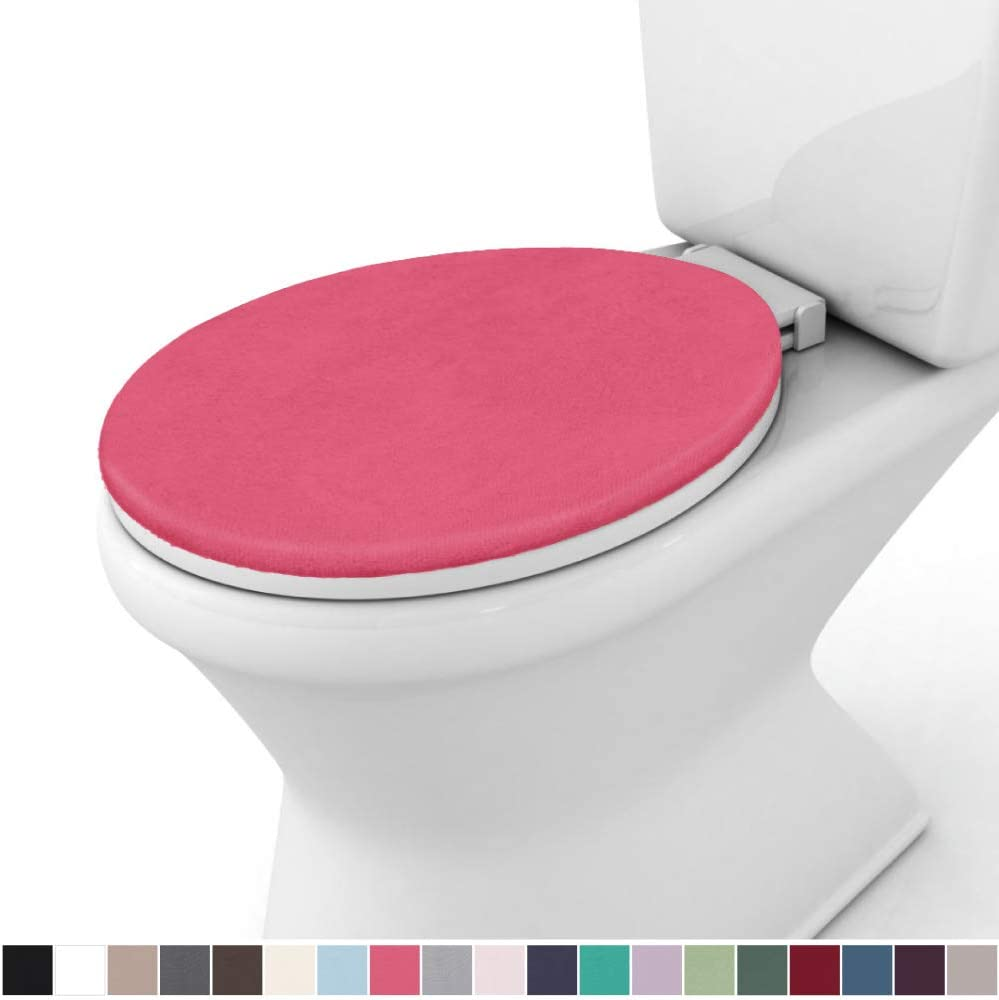 19.5 Inch x 18.5 Inch Size Gorilla Grip Original Thick Memory Foam Bath Room Toilet Lid Seat Cover Machine Washable Pink Plush Fabric Covers Fits Most Size Toilet Lids for Childrens Bathroom