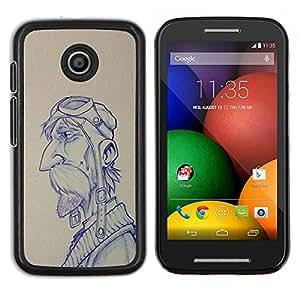 EJOOY---Cubierta de la caja de protección para la piel dura ** Motorola Moto E ** --boceto piloto hombre dibujo bigote