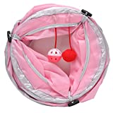 Itemap Pet Cat Kitten Rabbit Tunnel Tubes Funny Toys Collapsible Crinkle (Pink)