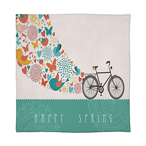YOLIYANA Lightweight Blanket,Bicycle,for Bed Couch Chair Fall Winter Spring Living Room,Size Throw/Twin/Queen/King,Happy Spring Themed Bike Concept with Blossomed (Best Electric Bikes Denver)