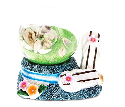 Footwear Cola (CoTa Global Green Sand Seashells w/Large Stripes Flip Flops Snow Globe Table Top Footwear Sandals Slippers & Flowers Decorative Toy Stone Globe 3 Inches - Nautical Beach/Summer/Underwater Theme)