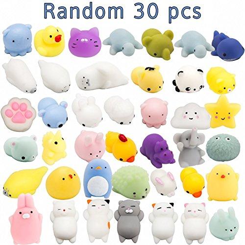 WATINC Random 30 Pcs Cute Animal Mochi Squishy, Kawaii Mini Soft Squeeze Toy,Fidget Hand Toy for Kids Gift,Stress Relief,Decoration, 30 Pack by WATINC (Image #1)