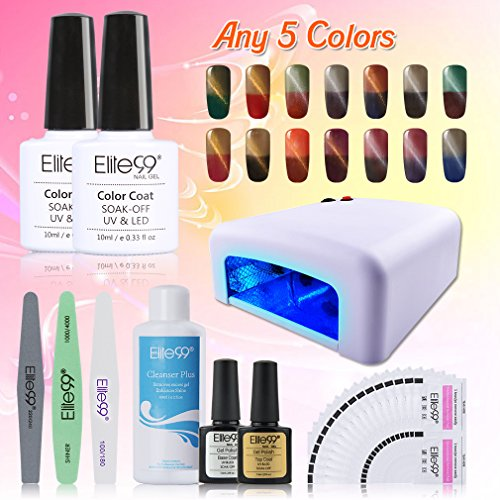 Cheap Elite99 Thermal Color Changing Cat Eye Soak Off UV LED Nail Decor Any 5 Colors Gel Polish + 20pcs Remover Pads + Top & Base Coat + Cleanser Plus + Nail Tool Kit + 36W UV Lamp + Magnet Stick
