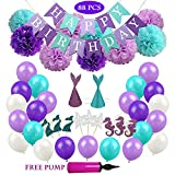 elegant party themes Balloons Decoration for Girls and Women Party, Elegant Purple Mermaid Theme Birthday Balloons Set, Paper Pom Poms Flowers Cupcake Toppers and Hats All in One Pack, (88 pcs) Free Pump.