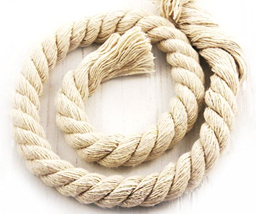 Cream Rope (54cm 0.6yds Ecru Cream White Large Cotton Cord Natural Twisted Rope Craft Macrame Weaving Beading Twine String 11mm .43in)