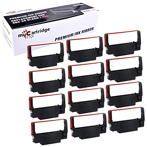 myCartridge ERC30 ERC-30 ERC 30 34 38 B/R Compatible Ribbon Cartridge for use in ERC38 NK506 (Black Red , 12-Pack)