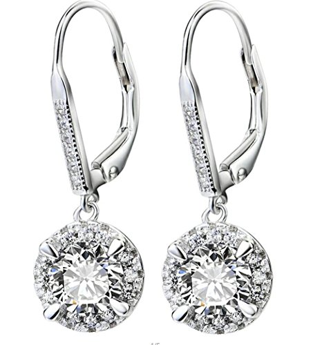 925 Sterling Silver Round Cut White Cubic Zirconia Lever-back Drop Earrings