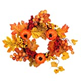 EBTOYS Thanksgiving Autumn Garland Hanging Maple Leaf & Pumpkin Wreath for Thanksgiving Home Window Door Wall Hanging