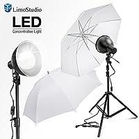 LimoStudio 2700 Lumen LED Light Bulb with 7.5 Diameter Metal Dish Lamp for Concentrative Spotlight, Light Stand Tripod, White Umbrella Reflector, Photography Video Studio, AGG2605V2