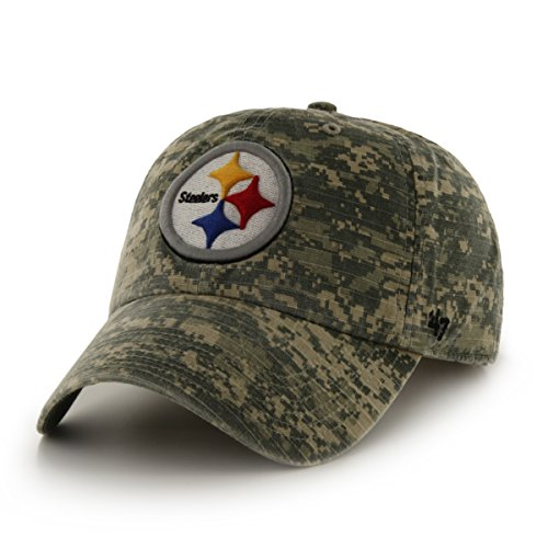 NFL Pittsburgh Steelers '47 Officer Clean Up Camo Adjustable Hat, One Size Fits Most, Digital Camouflage